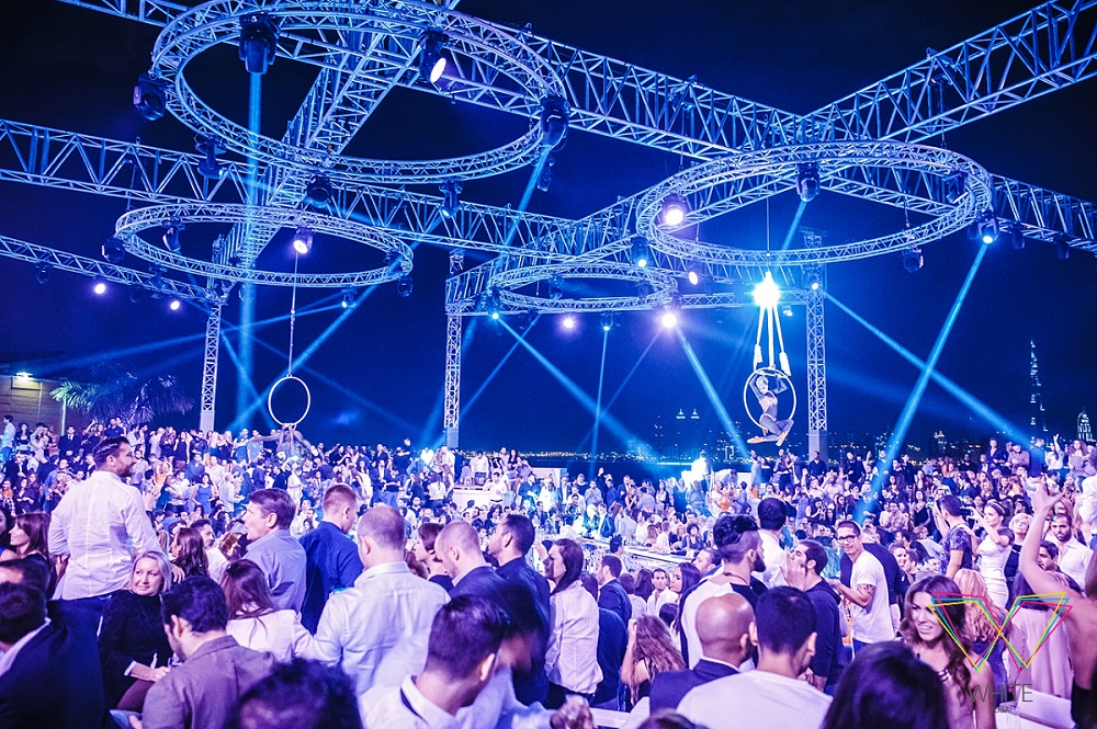 Avolites Expert Pro controls live visuals at rooftop club WHITE Dubai